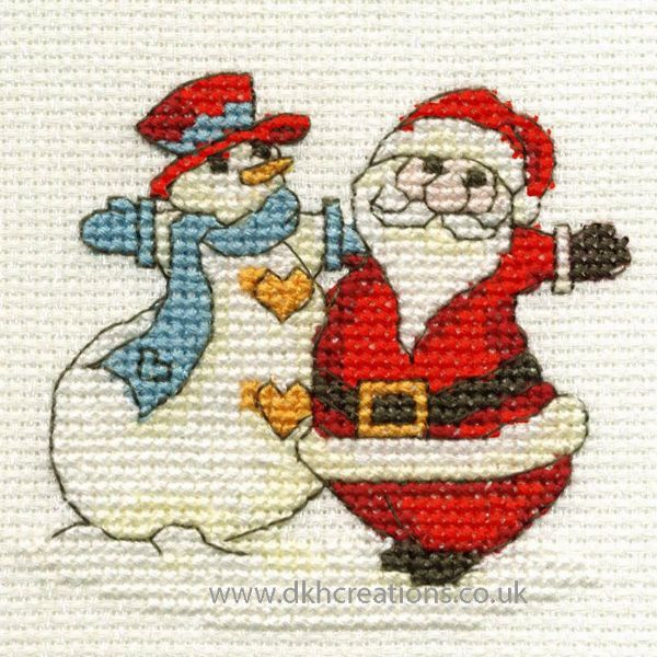 Father Christmas And Snowman Mini Cross Stitch Kit